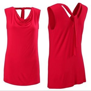 CAbi Red Sleeveless Tie-back Tee Style #3051